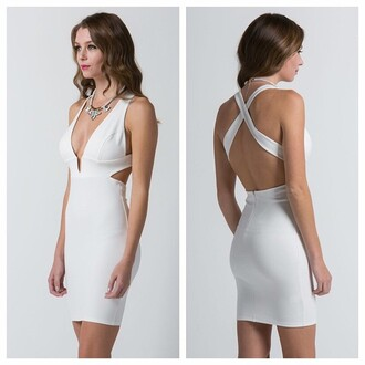 dress white dress formal dress backless dress
