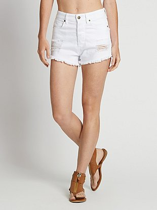 Ultra High-Rise Denim Shorts in Optic White Wash with Destroy at Guess