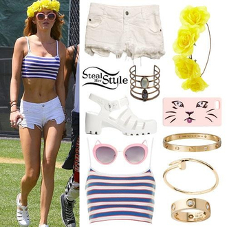 shorts crop tops stripes bella thorne outfit actress spaghetti strap coachella