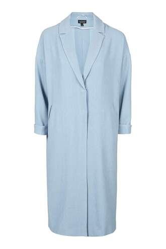 coat light blue pastel blue duster coat long coat topshop