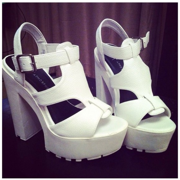 shoes platform shoes platform high heels chunky heels white thick heel