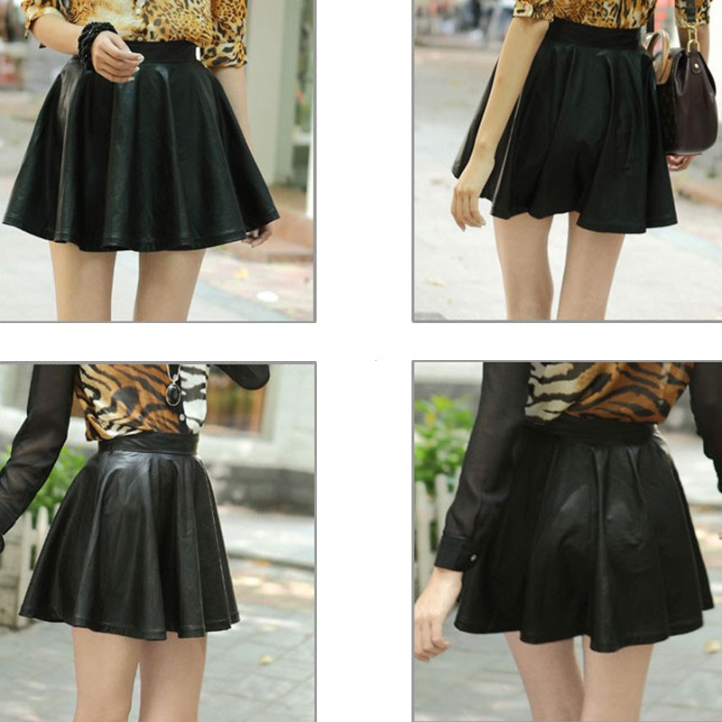 High Waist Faux Leather Flared Short Mini Pleated Skirt Women Lady ...