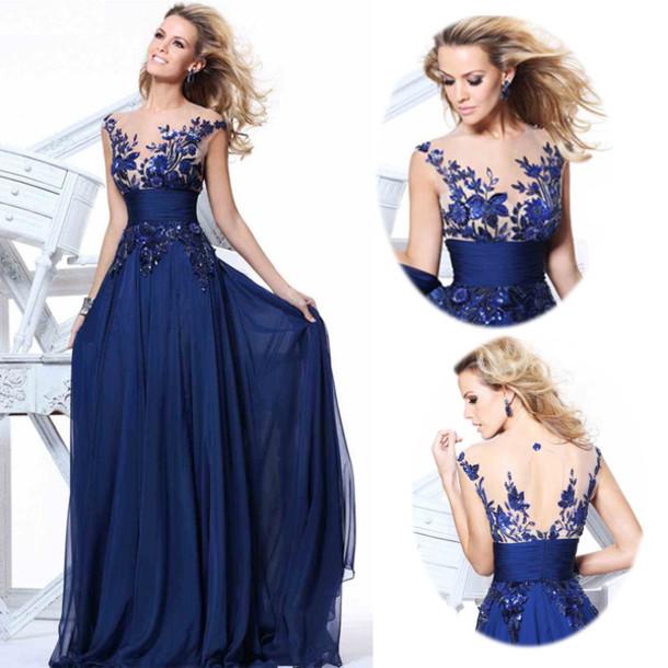 dress long prom dress elegant evening dress royal evening dress royal blue prom gown a line wedding dresses