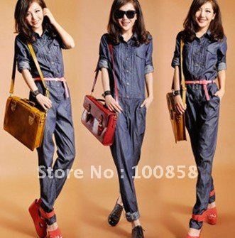 Free Shipping!! zb07032 high quality Cotton100% Long Sleeve Denim Women Jumpsuits-in Jumpsuits & Rompers from Apparel & Accessories on Aliexpress.com