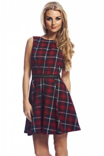 Zip waist tartanskater  dress