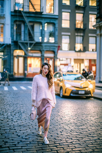 not jess fashion blogger coat sweater skirt bag socks shoes sunglasses pink sweater fuzzy sweater sneakers handbag winter outfits dress