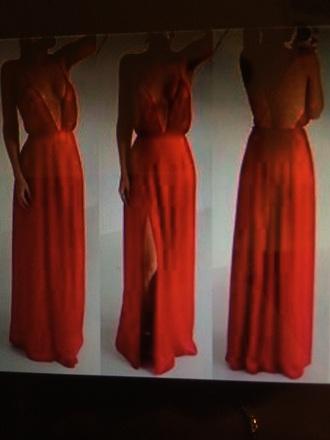 dress red slit long dress v neck deep v neck dress