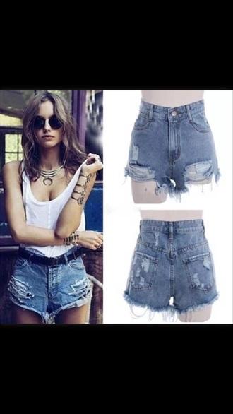 shorts fashion blue shorts high wasted shorts ripped jeans ripped shorts model