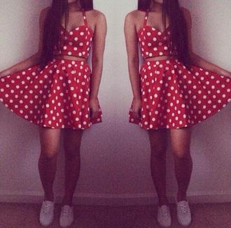 dress polka dots two piece dress set red dress