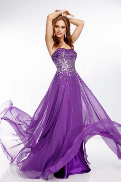 evening dress chiffon dress prom dress 2014 dress purple dress formal dress prom dress purple crystal dress, new years dress