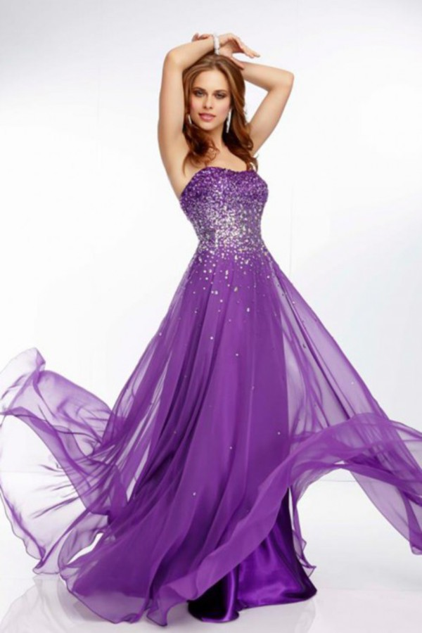 purple dress evening dress chiffon dress prom dress 2014 dress formal dress prom dress purple crystal dress new year's eve dress