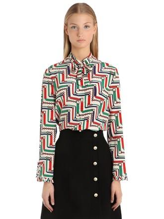 shirt bow silk top