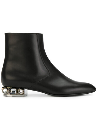 women embellished boots leather black shoes