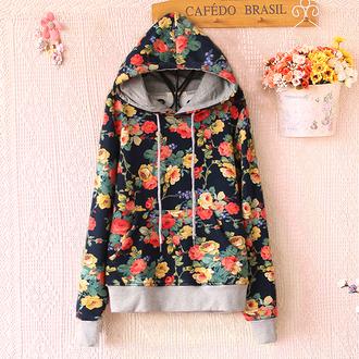 sweater floral hoodie flowers long sleeves sweet japanese flower hoodies trendy fall outfits cute kawaii winter outfits