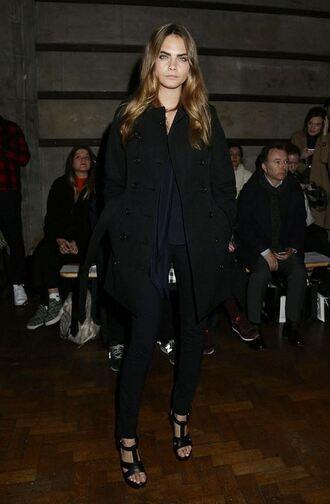 shoes sandals pants cara delevingne fashion week 2015 coat