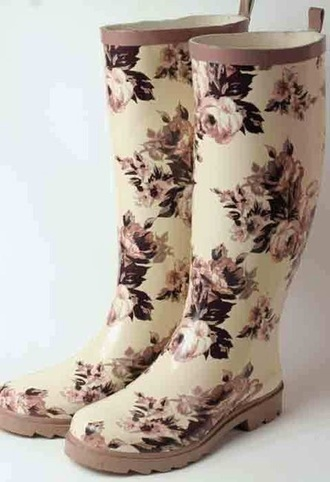 shoes wellies roses