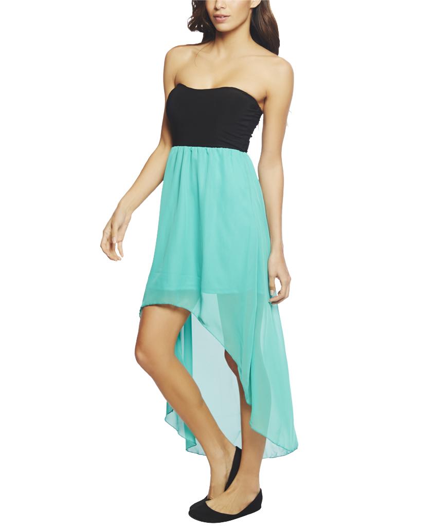 2fer Knit Chiffon High Low Dress | Wet Seal