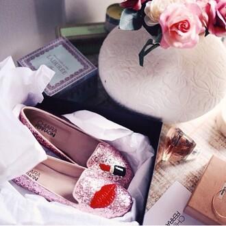 shoes chiara ferragni pink ballet flats sparkle lipstick red lipstick revolve clothing revolve revolveme