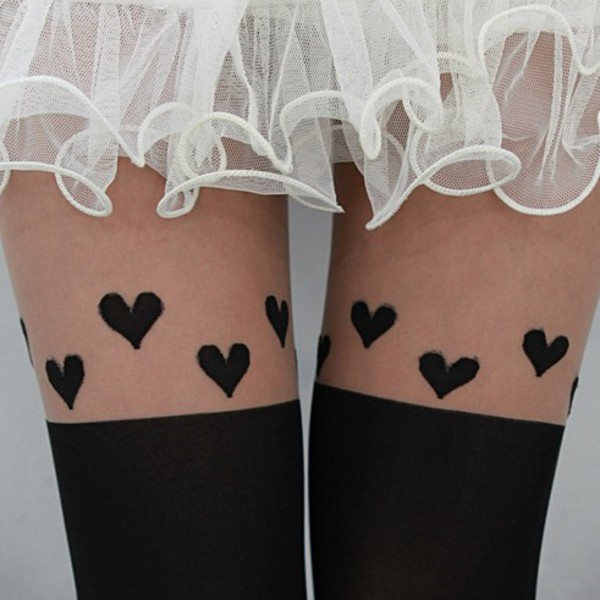 socks ishopcandy pantyhose heart heart heart socks heart pantyhose black
