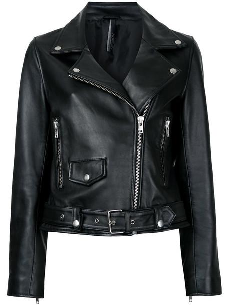 Nobody Denim jacket leather jacket women leather black