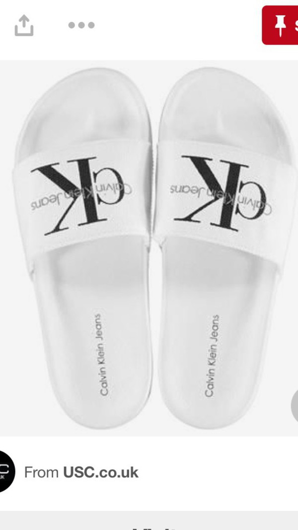 shoes slide shoes white calvin klein