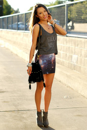 hapa time,t-shirt,skirt,jewels,shoes,bag,clothes,shirt,cosmic purple mini skirt,blouse,tank top,tumblr outfit,galaxy skirt,mini skirt,galaxy print,short skirt,shorts,tshir,band,top