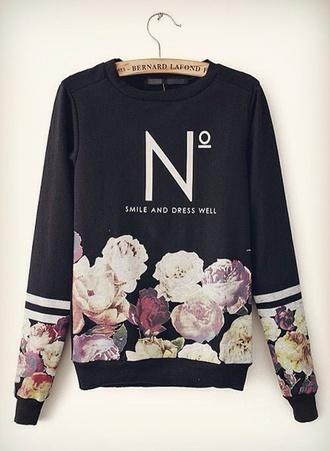 sweater chanel sweater black sweater flowers fashion