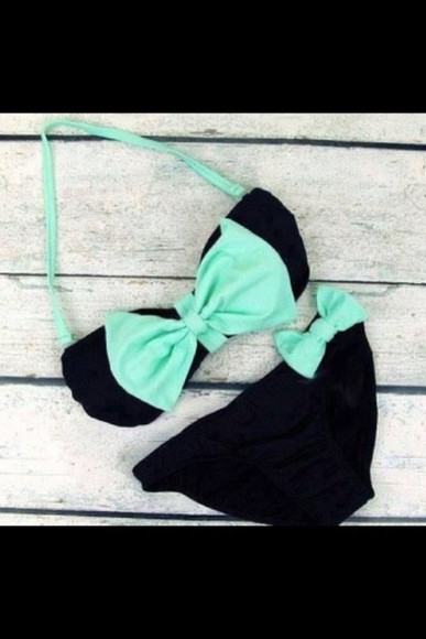 swimwear cute black bikini bleu tank top