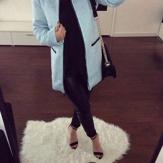 coat clothes cardigan baby blue