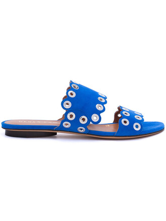 women sandals flat sandals leather blue suede shoes