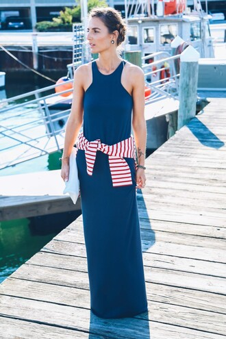 prosecco and plaid blogger maxi dress navy dress