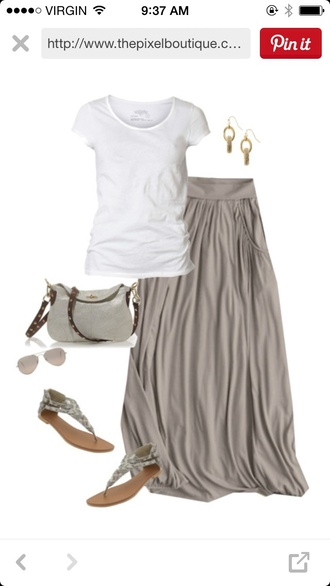 skirt taupe maxi skirt spring outfits