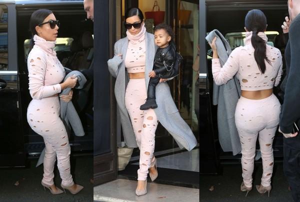 pants crop tops kim kardashian fashion week 2014 streetstyle