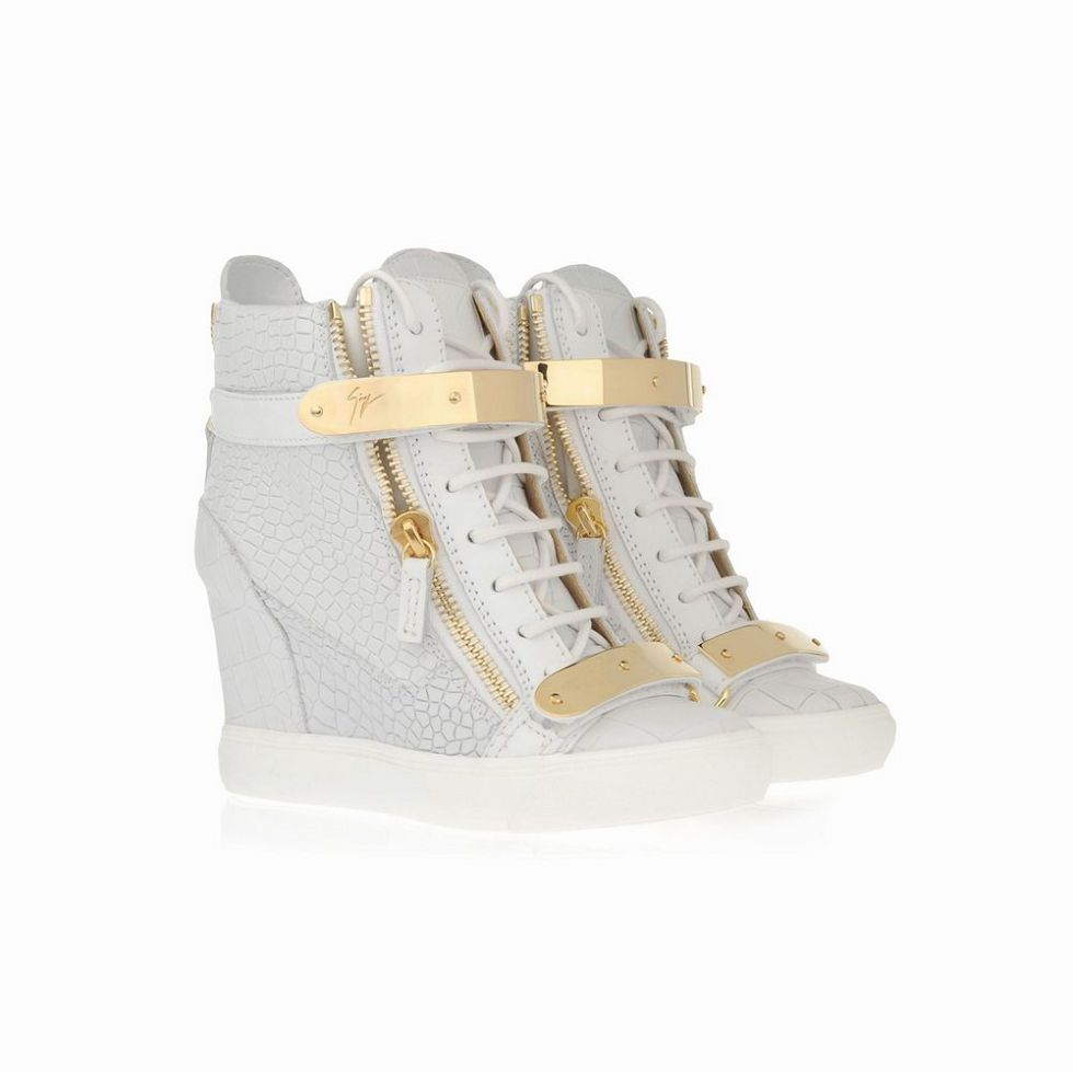 giuseppe zanotti croc wedge sneakers in white on sale. Black Bedroom Furniture Sets. Home Design Ideas