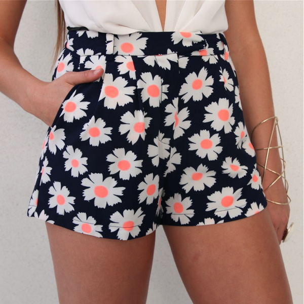 Daisy Neon Floral Prints High Waisted Pleated Oxford Shorts 6 8 10 ...