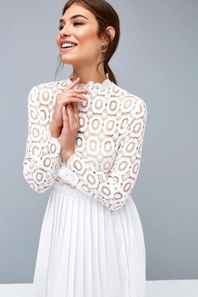 dress white crochet pleated white dress