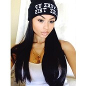 chain,necklace,i woke up like this beanie,long hair,beanie,i woke up like this,i woke up like dis,india westbrooks,india love,westbrooks,eyebrows,natural makeup look,tank top,top,gold,gold chain,graphic beanies,cute,crystal westbrooks