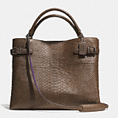 the box town tote in croc embossed leather