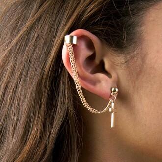 earing earrings jewels ear cuff cross earring gold earrings cuff earring