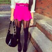 skirt,pink,soft,ruffle,short,belt,hot pink,pants,leggings