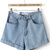 Blue High Waist Vintage Denim Shorts - Sheinside.com