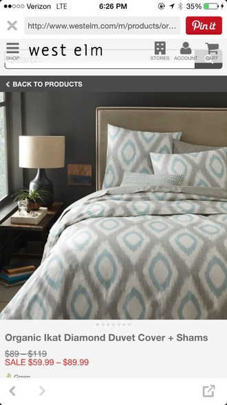 home accessory duvet bedding blue grey diamonds sham bedroom