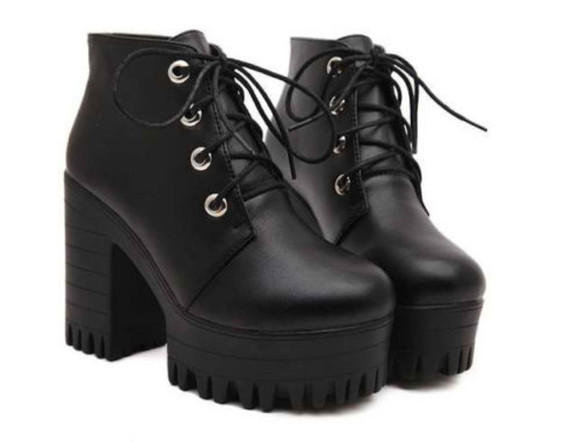 lace up heels black platform shoes soft grunge grunge platform sneakers platform high heels punk seapunk scene chunky sole