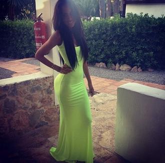 dress neon long tight