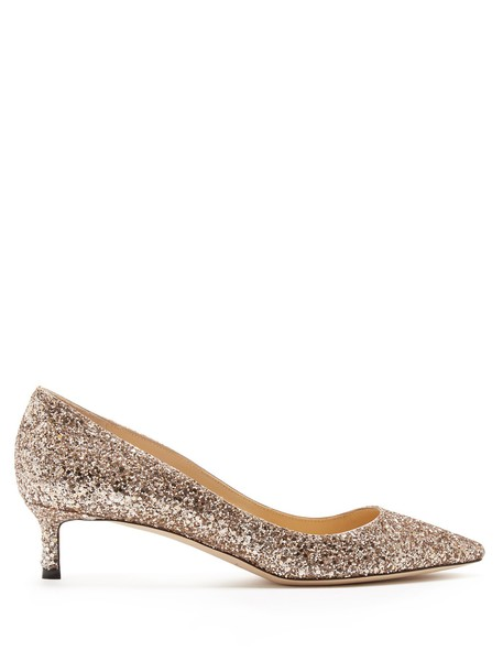 Jimmy Choo glitter pumps rose gold rose gold shoes