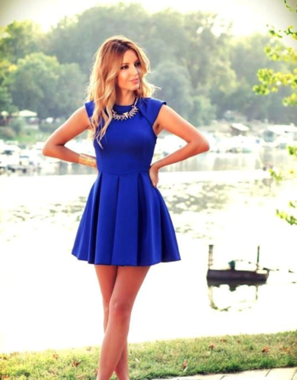 dress royal royal blue fit and flare pleated jersey material cap sleeve cap sleeves