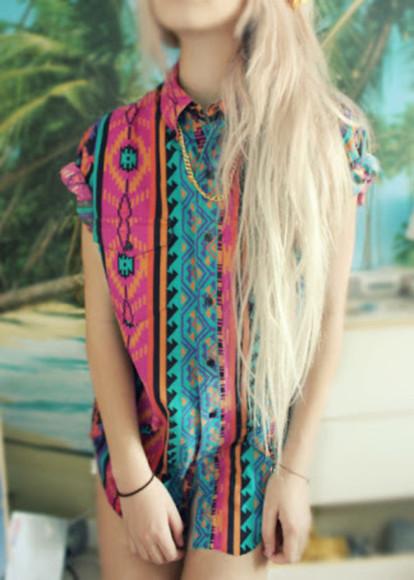 boho hippie blouse boho shirt colour colourful shirt hippie shirt bohemian dress want want want!