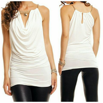 top white gold chain open back black pearl white blouse