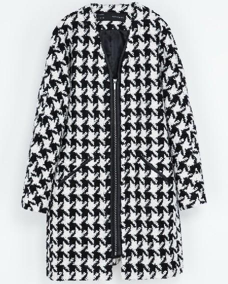 White Houndstooth Round Neck Tweed Coat - Sheinside.com