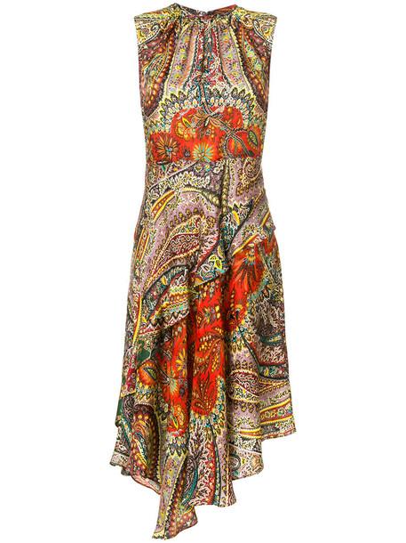 ETRO dress asymmetrical women print silk